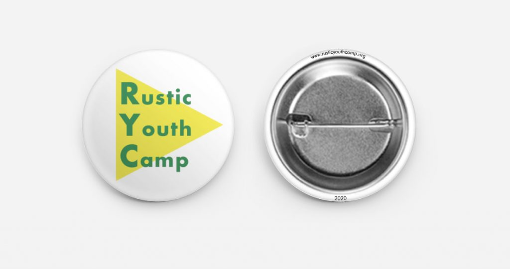 An RYC pin-back button.
